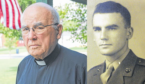 Now retired and living at the Bishop Head Residence in Lackawanna, Msgr. James Campbell served as a Marine Corps Lieutenant. (Left photo by DAN CAPPELLAZZO/Staff Photographer)