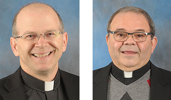 Father F. Patrick Melfi (left) and Father Sebastian Pierro received new assignments.