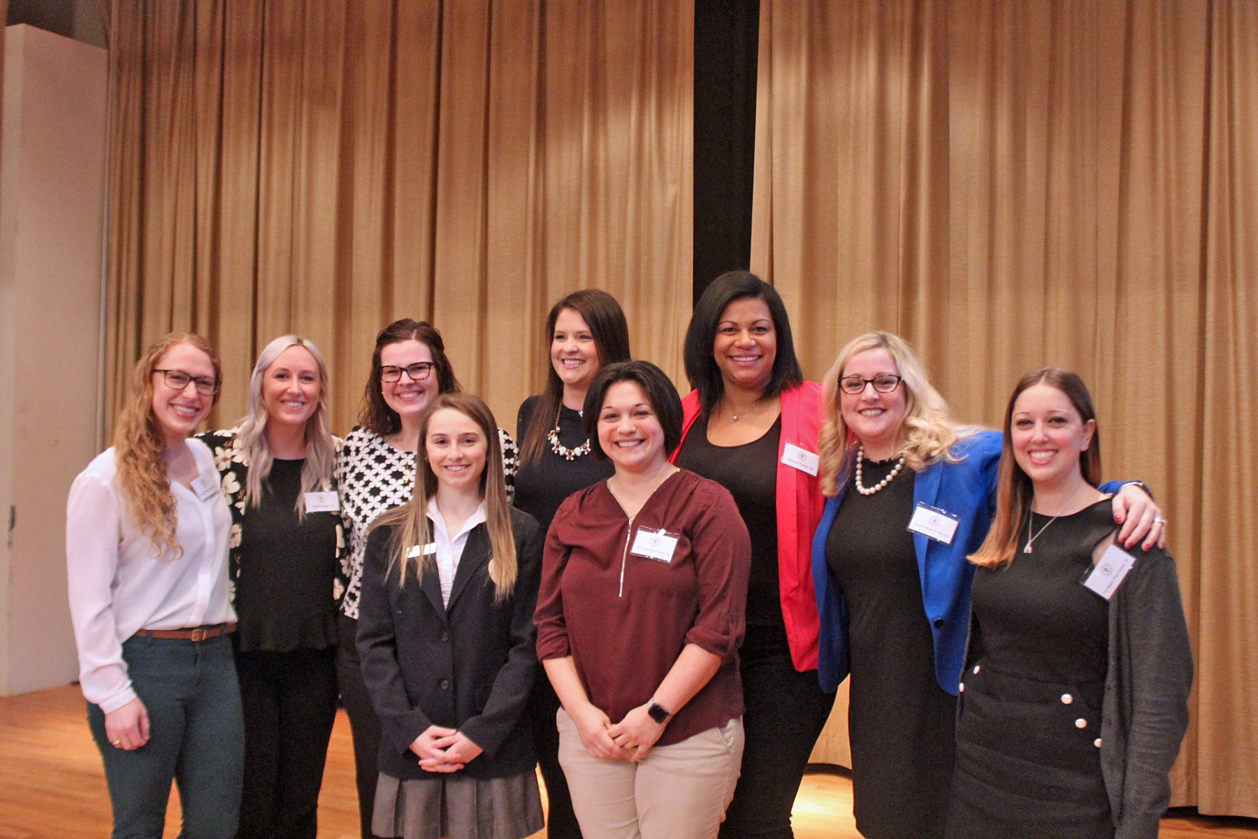 Mount Mercy Academy's guidance department and Alumnae Association recently sponsored a career day for the students. The event featured a panel discussion with eight successful alumnae from a variety of fields.  The event was titled `Girls Can Do Anything`. Taking part ion the event are (front row left to right) Student moderator Olivia Larson and Susan Dzierzewski Steblein. (back row left to right) Peggy Klavoon Cannan, Claire Kelley, Mary Reidy, Peggy Shea Sherber, Jessica Turner, Susan Anderson Was and Dr. Megan Wierchowski.