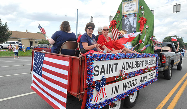 St. Adalbert Church, Buffalo, celebrates in the Pulaski Day Parade, Cheektowaga, with a float and marchers. (Patrick McPartland/Managing Editor)