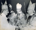 Auxiliary Bishop Bernard McLaughlin is congratulated by his consecrator Pope Paul VI after ceremonies on January 6, 1969 in St. Peter